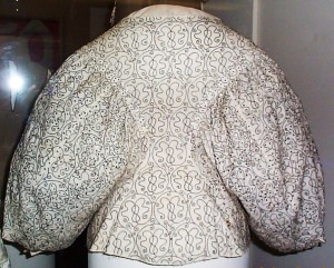 mid -late 17th century crewel embroidered jacket, showing fashionable oversize sleeves