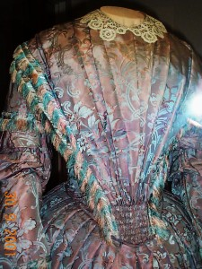front view: ornate silk day dress 1860s