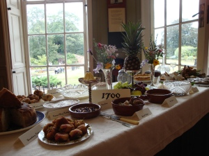 A display charting changes in eighteenth century tastes