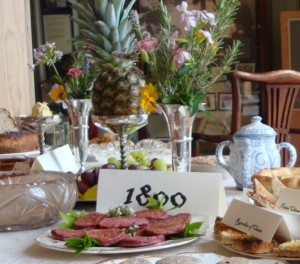 An eighteenth century food display, centring on a pineapple - a symbol of hospitality