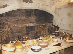 cooking hearth at Wollaton hall. The smoking hearth is to the right, where the pile of wood is stacked