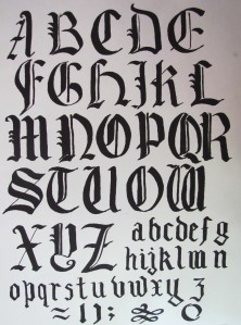 Sample black letter alphabet showing broad down strokes. Flourishes are added last.